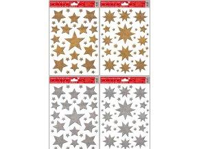 Okenní fólie hvězdy zlaté, stříbrné glitry 389, 30x20cm