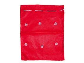 Mikulášský pytlík červený s vločkamí 40x32cm 5815 - 2 POSLEDNÍ KUSY -