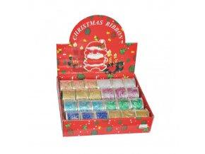Vánoční stuha glitrová s drátkem 5 cm x 2.7m WSD 50-01 - různé motivy