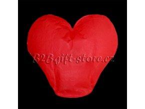 Lampiony štěstí - tvar srdce - červené