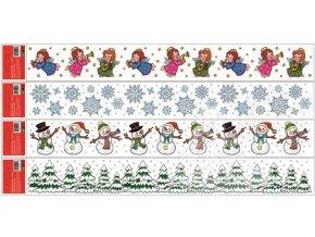 Fólie lemy - andílci,lesík,vločky a sněhuláčci 351, 60x7cm