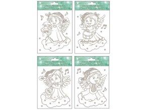 Okenní fólie andílci se stříbrnými glitry 388, 18x15cm