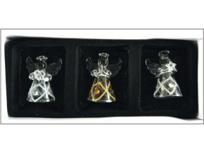 Andělé ze skla sada 3ks káro a kamínky 3505, 4,5cm