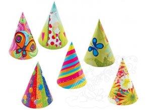 Karnevalový klobouček 6 ks v balení - různé motivy 9046