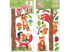 Samolepky na zeď metr strom s lesními zvířátky 10096 , 70x33cm
