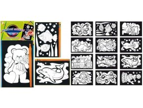 Vyškrabávací obrázky s barevnými ornamenty 15x10cm 1646 - 2 POSLEDNÍ KUSY -