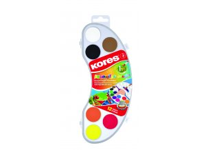 Vodové barvy Akuarellas mini, 12 barev, 25 mm + štětec KORES