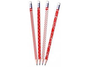 Trojhranná tužka Kores red&white - HB
