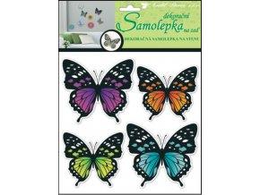 Samolepky na zeď 3D neonoví motýli 10151 , 30x22x1cm, 4ks
