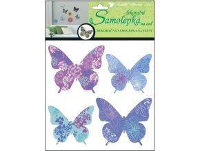 Samolepky na zeď 3D motýli modrofialoví 10154 , 30x22x1cm, 4ks