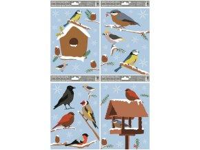 Fólie okenní ptáci zimní 446 , 30x20cm