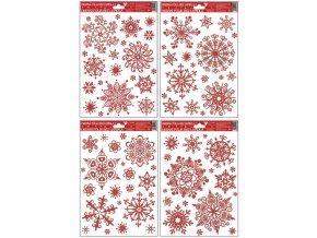 Okenní fólie vločky sněhový efekt červená 465 , 30x20cm