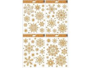 Okenní fólie vločky sněhový efekt zlatá 464 , 30x20cm
