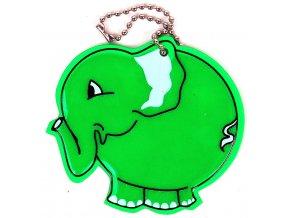 Přívěšek reflexní Slon zelený