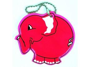 Přívěšek reflexní Slon růžový