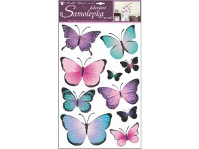 Samolepky na zeď motýli modrofialoví 10185 , 50 x 32 cm