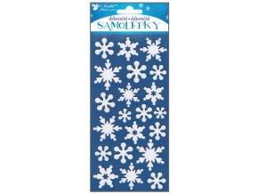 Samolepky bílé vločky s glitry z EVA pěny 10193 , 20 x 10 cm - 2 POSLEDNÍ KUSY -