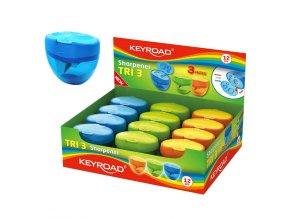 Ořezávátko kontejner KEYROAD Tri Plus 3, plast, asort