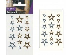 Tetovací obtisky metalické 10,5x6 cm- hvězdičky , 1112