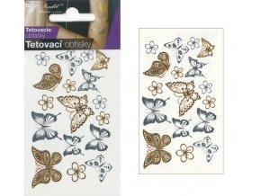 Tetovací obtisky metalické 10,5x6 cm- motýli , 1114