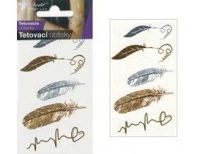 Tetovací obtisky metalické 10,5x6 cm- pírka , 1115