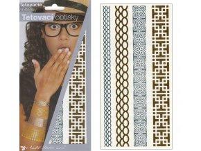 Tetovací obtisky metalické 18x10,5 cm-náramky , 1116