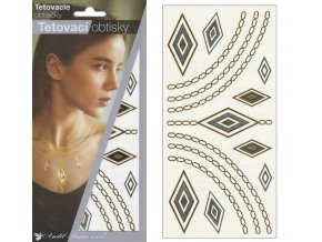 Tetovací obtisky metalické 18x10,5 cm-ornamenty , 1121
