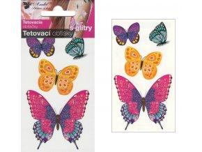 Tetovací obtisky s glitry 10,5x6 cm- motýli , 1102 -