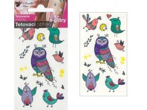 Tetovací obtisky s glitry 10,5x6 cm- ptáčci , 1101 - 2 POSLEDNÍ KUSY -