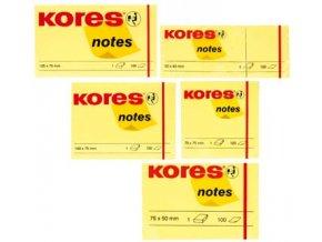 Samolepící bločky žluté KORES 50x40 3ks