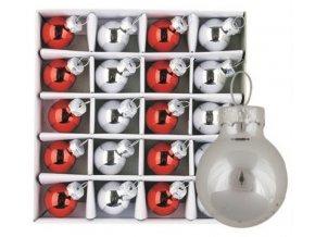 Sada skleněných baněk stříbrné+červené 2cm,20ks 3485