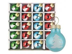Sada skleněných baněk červ.,zelená,modrá 2 cm, 20ks 3486