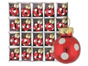 Sada skleněných baněk červených puntík 2 cm, 20ks 3487