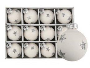Sada skleněných baněk bílých s hvězdou 3cm, 12ks 3489