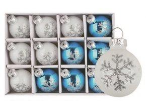 Sada skleněných baněk bílých a modrých s vločkou 3cm, 12ks 3490