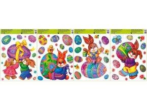 Okenní fólie velikonoční 4 motivy 42 x 30 cm hologramová 729