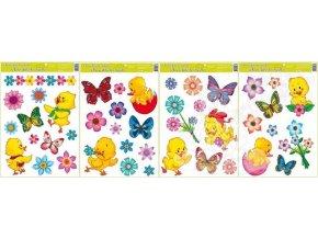 Okenní fólie kuřátka, květiny a motýlci 42x30cm 790