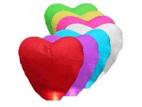 Lampiony štěstí - tvar srdce - 10 ks - mix barev