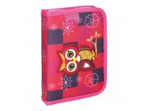 Penál 1-patrový / 2 klopy plný, 3D Owl Red
