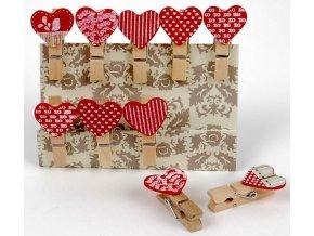 Kolíčky dekorační Shapes 01 srdce 10ks