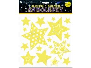 Samolepky svítící ve tmě hvězdy 25 x 25 cm , 10265