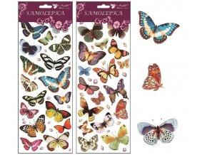 Samolepky motýli 30x12 cm s glitry , 1256