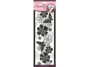 Samolepky na zeď motýli a květinami 3pruhy 1394, 47x16cm - 4 POSLEDNÍ KUSY -