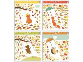 Okenní fólie 33x30 cm, podzimní zvířátka 973