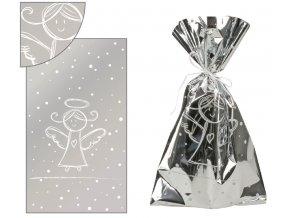 Sáček stříbrný s bílým andílkem 20x35cm 100ks 13504