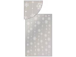 Sáček stříbrný s vločkami na lince 25x40cm 100ks 13505