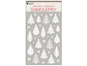 Samolepky bílé s glitry 25x14 cm, stromy 10365