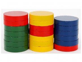 barevné lakované magnety, průměr 25 mm, výška 5 mm
