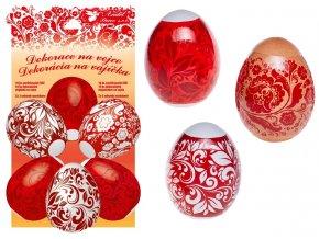 Smršťovací dekorace na vejce červené 10 ks+10 stojánků 7731