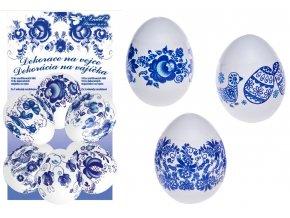 Smršťovací dekorace na vejce modré 10ks + 10 stojánků 7730